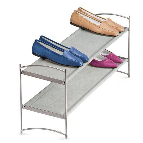 Lynk Vela 2-Tier Stacking Shoe Shelves, Platinum