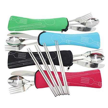 Cutlery Carrying Case (Set of 4 / 4 Piece Stainless Steel(Knife, Fork, Spoon, Chopsticks)Lightweight Portable Tableware,Camping/Travel/Office Lunch Cutlery Set with Carrying Cases)