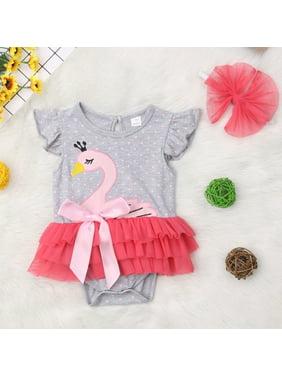 3ca6efc62e96 Product Image 2PCS Newborn Baby Girl Cartoon Swan Bodysuit Tutu Romper  Dress Outfit Sunsuit