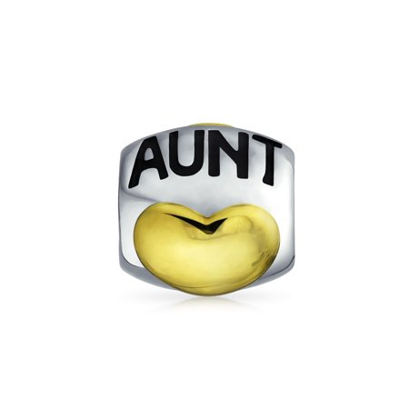 Aunt Auntie Heart Love Auntie Charm Bead For Women Two Tone 14K Gold Plated Sterling Silver Fits European Bracelet