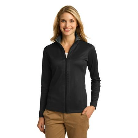 Port Authority® Ladies Vertical Texture Full-Zip Jacket. L805 Black/ Iron Grey - image 1 de 1