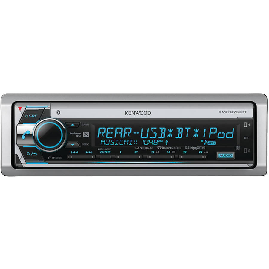Kenwood KMR-D768BT Single-DIN In-Dash Marine CD Receiver with Bluetooth and SiriusXM Ready