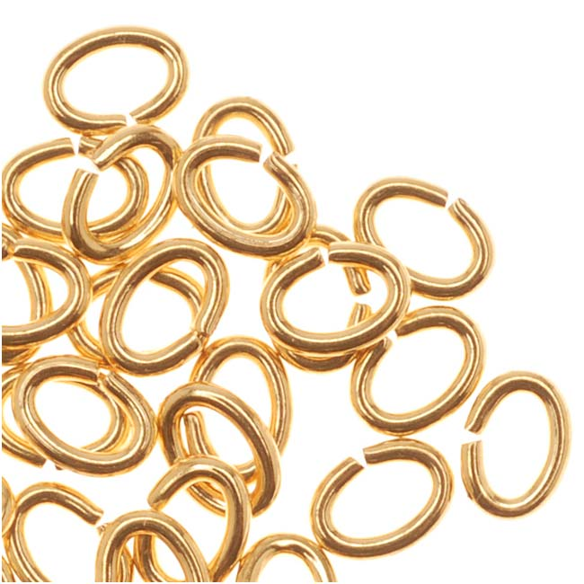 Oval Open Jump Rings 21 Gauge 22K Gold Plated 3x4mm (50)
