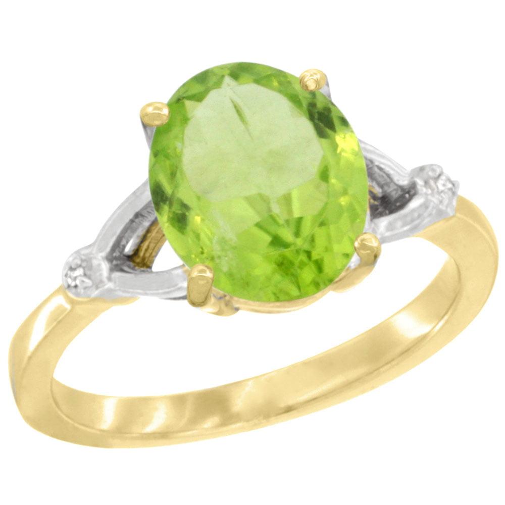 10K Yellow Gold Diamond Natural Peridot Ring Oval 10x8mm, sizes 5-10 by WorldJewels