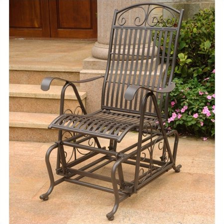 Pemberly Row Single Iron Patio Glider in Matte Brown ()