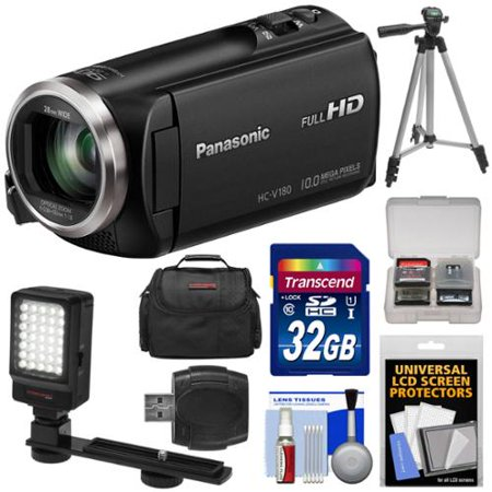 panasonic hc v180 hd video camera camcorder with 32gb card case tripod led light reader. Black Bedroom Furniture Sets. Home Design Ideas