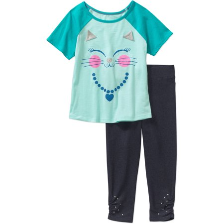 365 Kids from Garanimals Girls' Short Sleeve Applique Baseball Tee and Solid Cinched Leggings Outfit Set