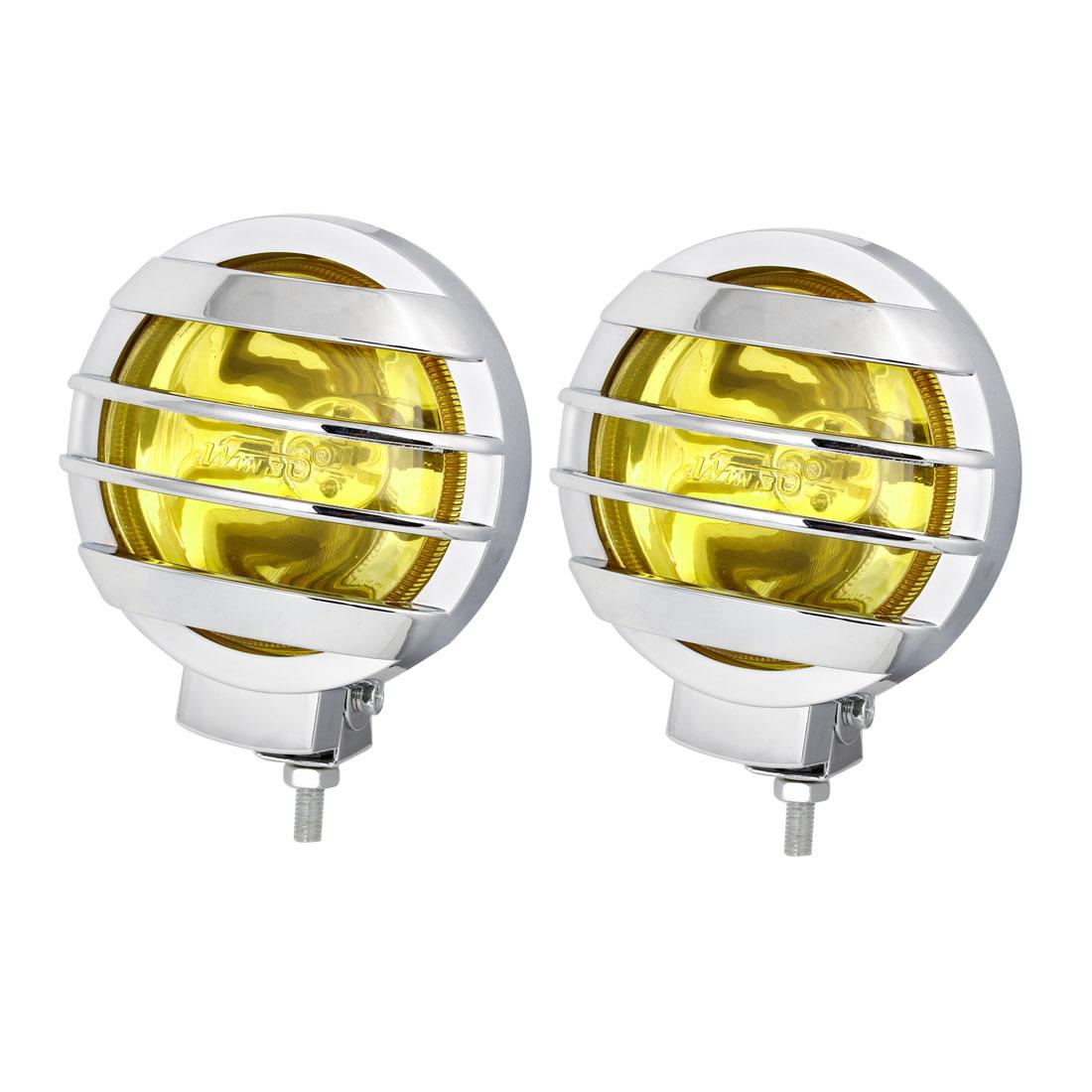 Unique Bargains Car Auto 12V 55-85W H3 Socket Amber Lamp Foglights Driving Light 12V 2 Pcs