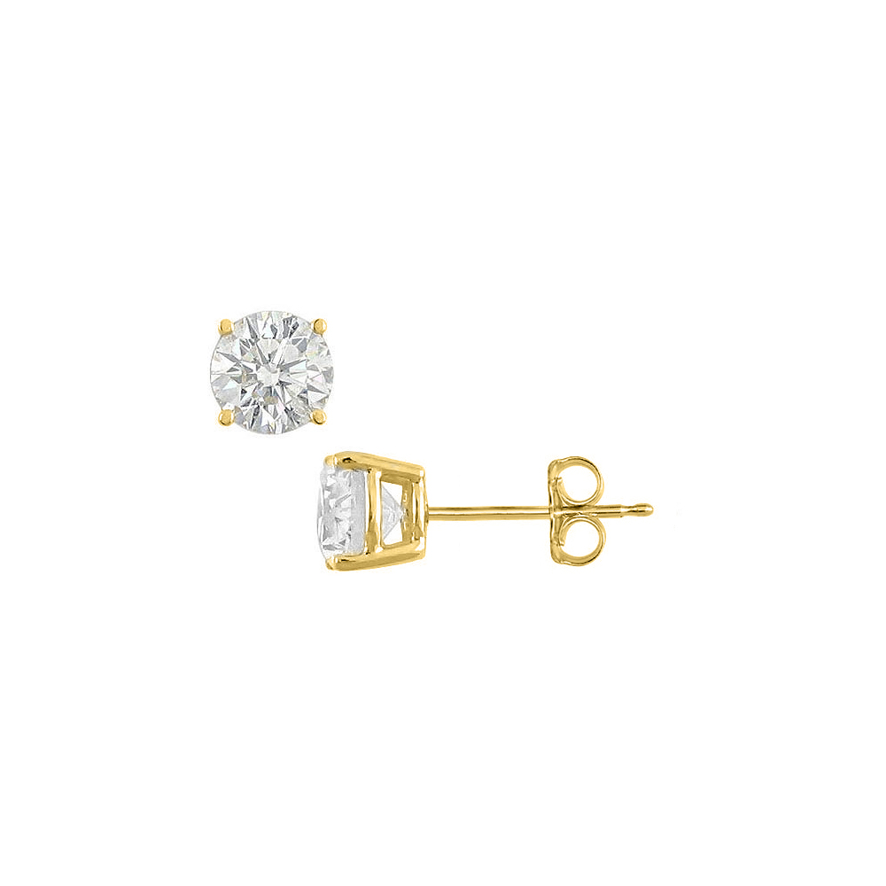 Sterling Silver with 18K Yellow Gold Vermeil of Fifty Carat Cubic Zirconia Stud Earrings - image 2 de 2