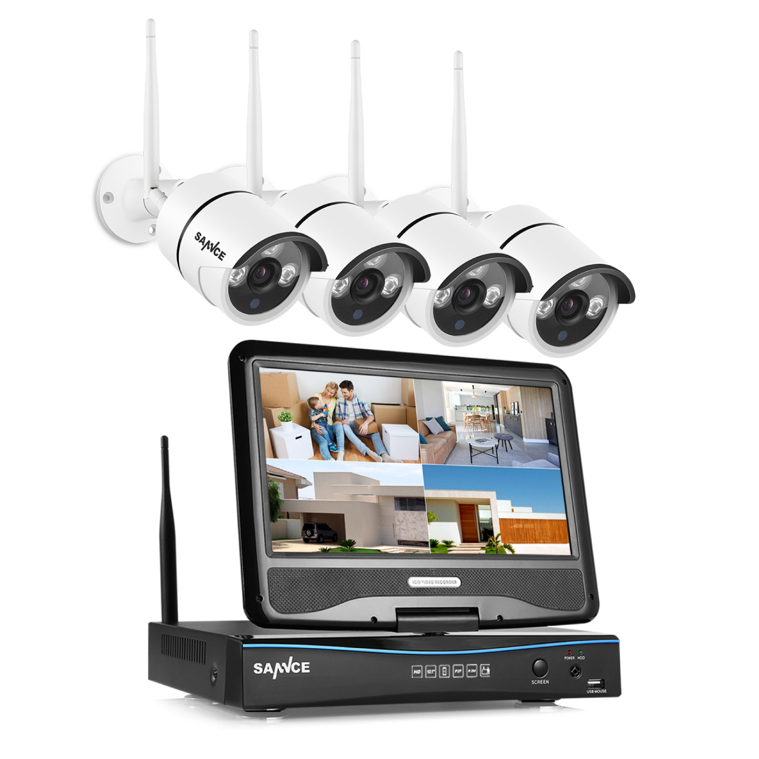 "SANNCE Wireless WIFI 10"" LCD Monitor DVR 4pcs 720P Home Security Camera System With No Hard Drive Disk"