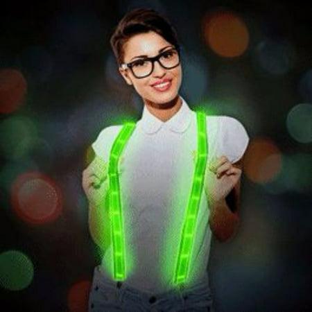 Green LED Suspenders - Green Suspenders