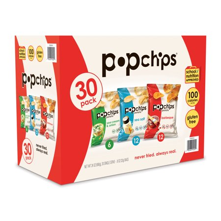 Popchips Variety Pack, Classic, 30 CT White Classic Chip