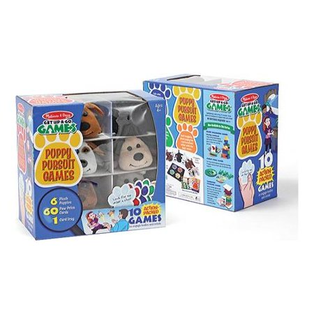 Melissa & Doug Puppy Pursuit Games - 6 Stuffed Dogs, 60 Cards - 10 Games With Variations - Puppy Game