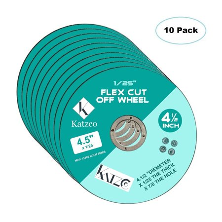 Flex Cut Off Wheels- For Cutting Metal And Steel -4 ½ Inch To Use With Angle Grinders - 4.5'X 1/25 Max 13300 R.P.M 80M/S- 10 Pack By