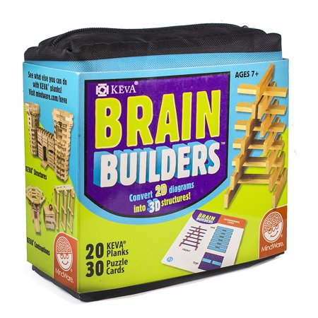 KEVA Brain Builders Game, TOYS THAT TEACH: KEVA Brain Builders from MindWare will train your brain to turn 2-dimensional diagrams into.., By MindWare (Mindware Toys)
