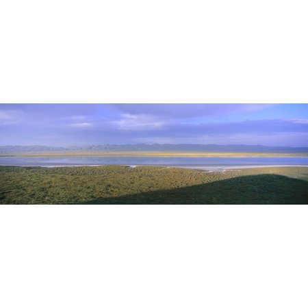 Panoramic View Of Soda Lake At Sunset In Carrizo Plain National Monument San Luis Obispo County California Canvas Art   Panoramic Images  36 X 12