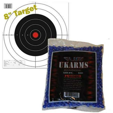 BLUE 1,000 AIRSOFT BBs Pellets 6mm .12g BB For Pistol Gun Rifle AMMO + Target