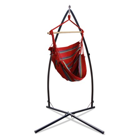 Hammaka Woven Fabric Hammock Chair with Summit Stand The Hammaka Woven Fabric Hammock Chair with Summit Stand offers portable relaxation with a hammock chair made of durable, woven fabric in your choice of available color. You'll love this hammock chair that includes a sturdy stand designed to create a small footprint, making it a reliable, durable way to relax indoors or outdoors anywhere you please. Hammaka Hammaka products, now brought to you by King's Pond, are designed to provide a comfortable getaway from all of life's stresses. It all started with the Original Hammaka Hammock Chair, but the wide variety of luxurious chairs is constantly growing in order to give you the perfect fit. You can also put your mind at ease, as well as your body, knowing that Hammaka has gone green by using renewable materials and environmentally responsible manufacturing processes committed to recycling and energy conservation.