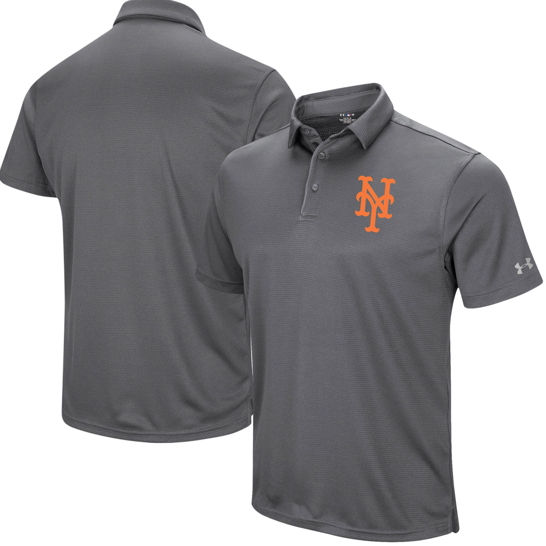 New York Mets Under Armour UA Tech Left Chest Polo - Gray
