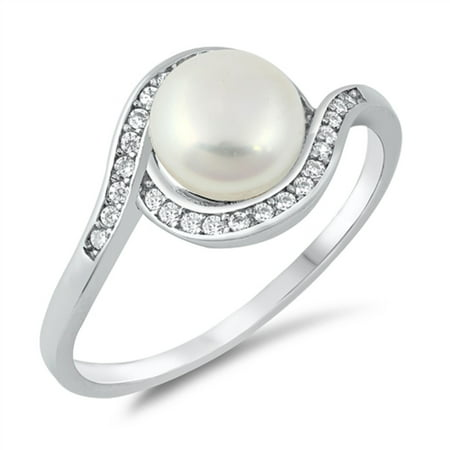 Simulated Pearl Bead Center Clear Cubic Zirconia Swirl Ring Sterling Silver Size 10