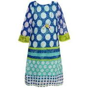 Rare Editions Little Girls Royal Blue Aqua Dotted Cut-Out Detail Dress 4