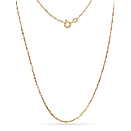 Gold Over Sterling Silver Open Box Link Necklace 20 Inch
