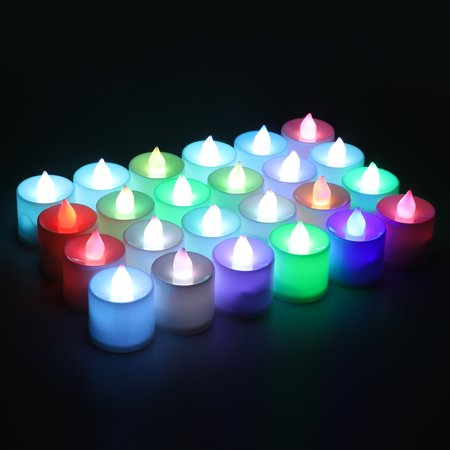 Kohree LED Candle Tea Lights with Battery, Flameless Candle Lamp for Wedding Party Festival Holiday Decoration, Flickering Colorful 24pcs/set (Flameless Lamps)