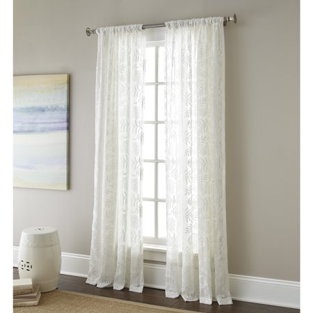 (Sherry Kline  Ferndale Luxury White Embroidered Sheer Curtain Panel Pair)