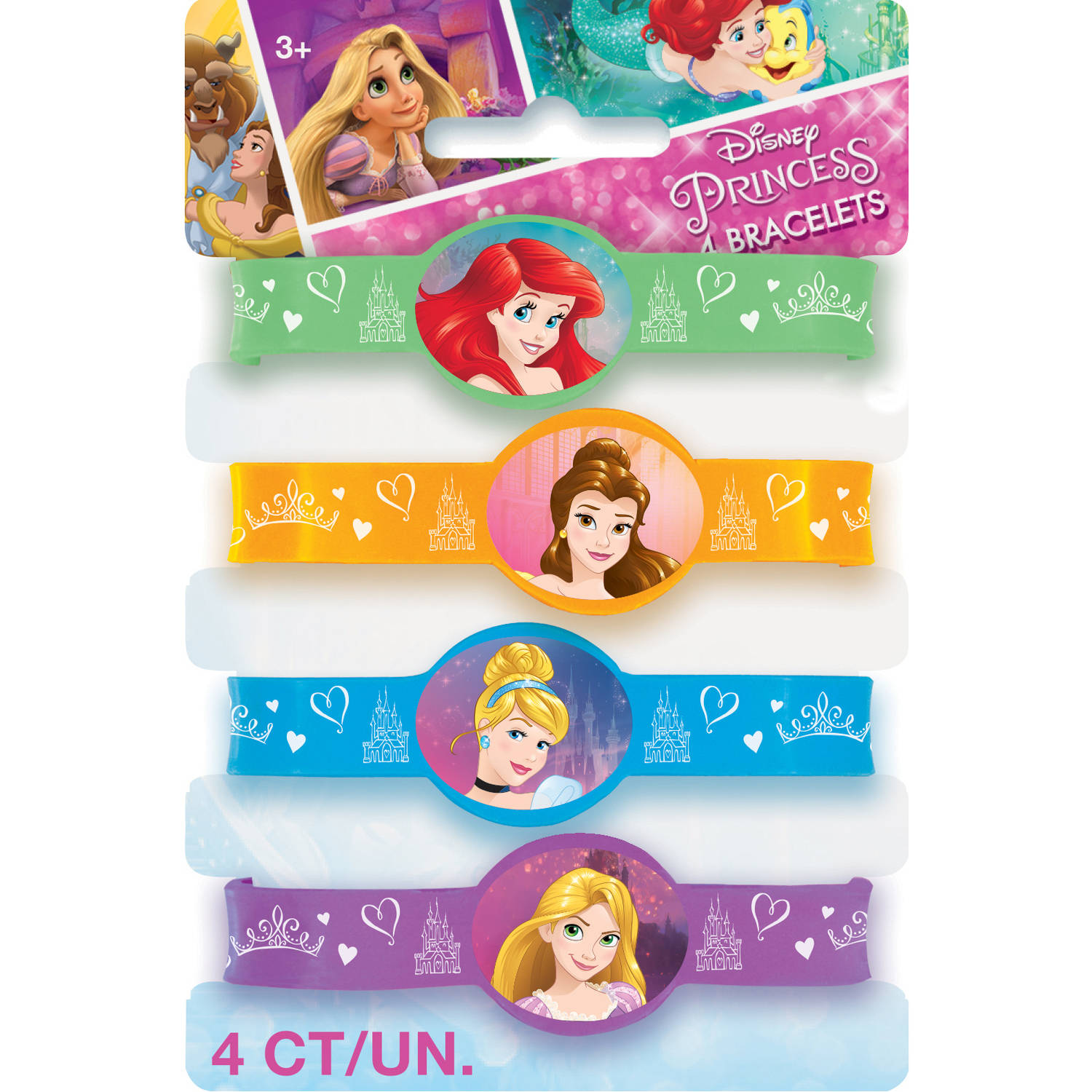 Disney Princess Rubber Bracelet Party Favors, Assorted, 4ct