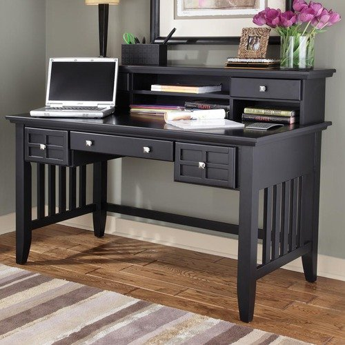 Arts & Crafts Black Executive Desk With or Without Hutch-Option:With Hutch