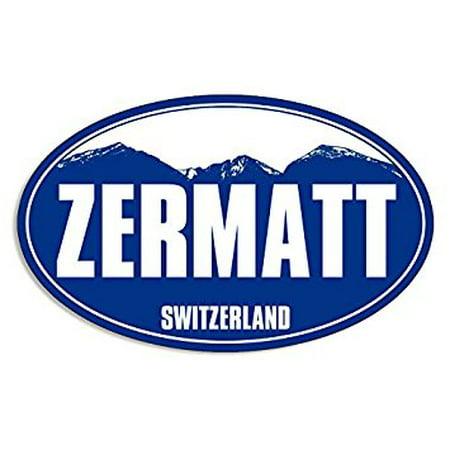 Blue Mountain Oval ZERMATT Sticker Decal (snow ski skiing resort) Size: 3 x 5