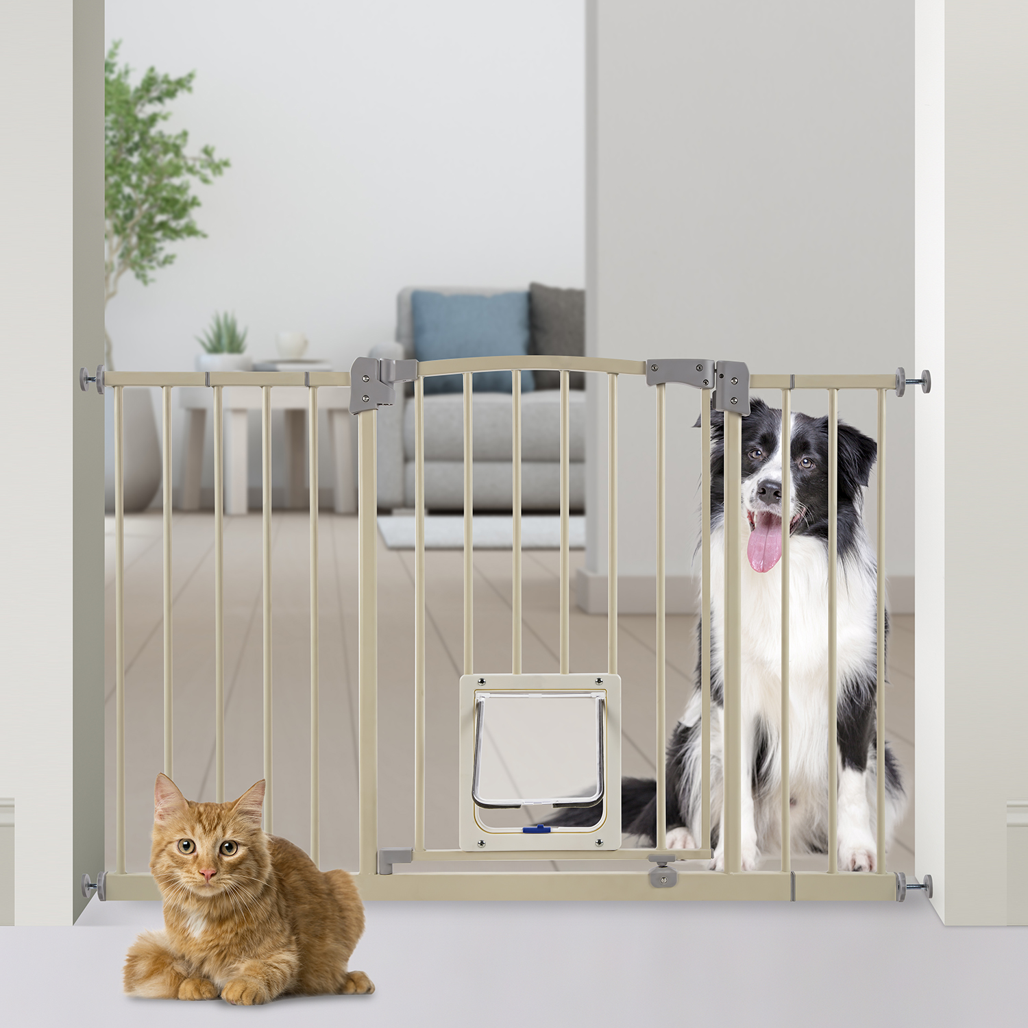 Paws U0026 Pals Dog Gate Multifunctional Indoor Metal Baby Barrier   Adjustable  Fence For House Doorway
