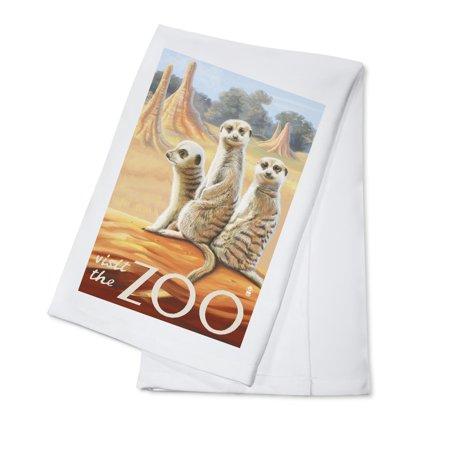 Meerkats - Visit the Zoo - Lantern Press Artwork (100% Cotton Kitchen Towel)