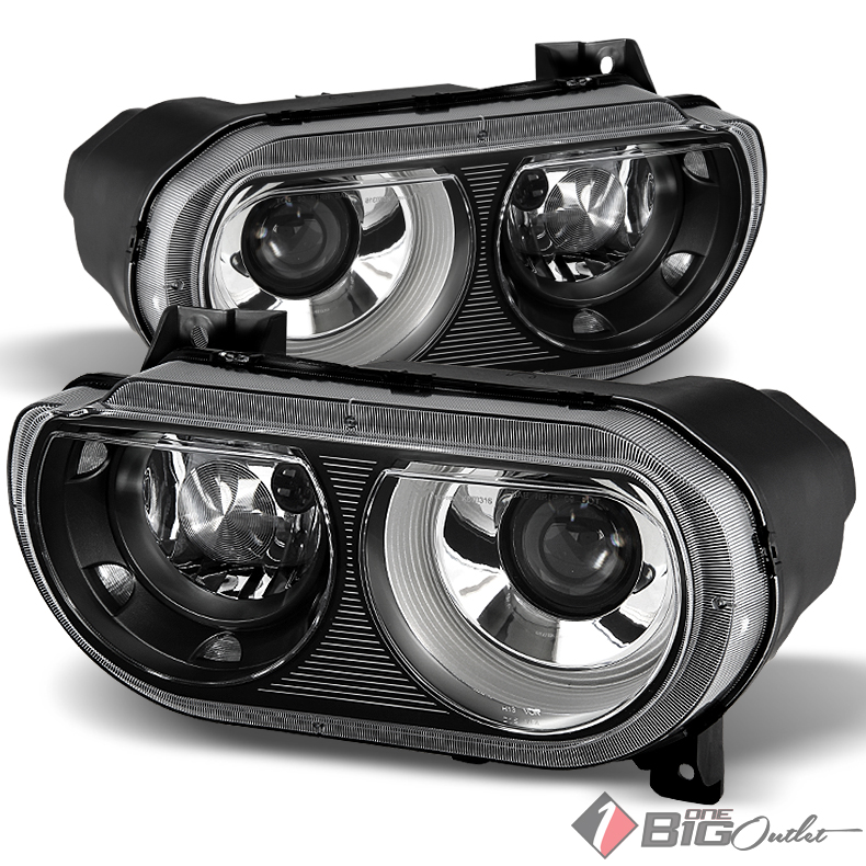 For 2008-2014 Challenger Black Housing Projector D1S Xenon Headlights Assembly LH+RH Pair L+R/2009 2010 2011 2012 2013