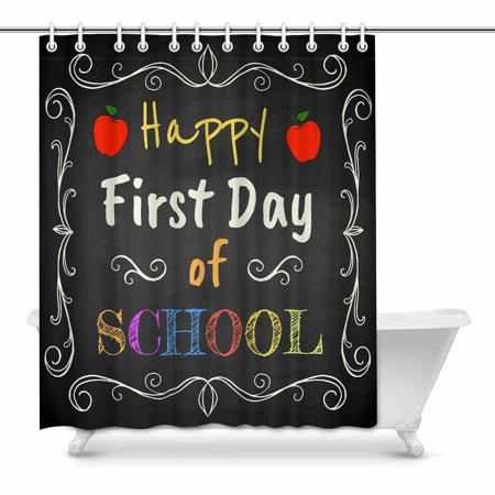 POP Happy First Day of School Chalk Text on Blackboard Prints Shower Curtain for Bathroom Sets 60x72 inch - image 1 of 1