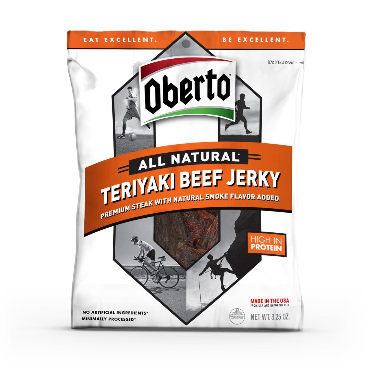 8 PACKS : Oberto All Natural Teriyaki Beef Jerky, 3.25 ounce package
