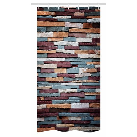 Urban Stall Shower Curtain Colored Stone Surface Texture Background Retro Style Brick Wall Image