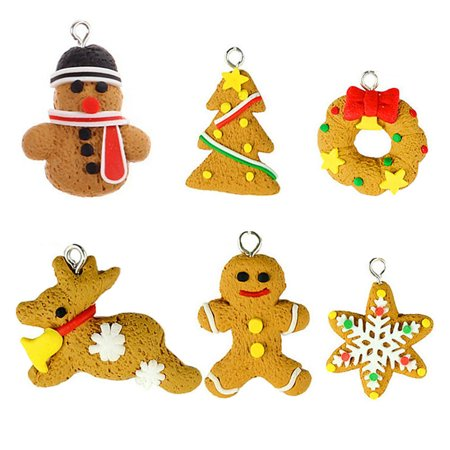6pcs Handmade Cute Cartoon Gingerbread Men Snowflake Xmas Tree And Snowmen Polymer Clay Pendants Hangning Christmas Tree Decoration And Ornaments
