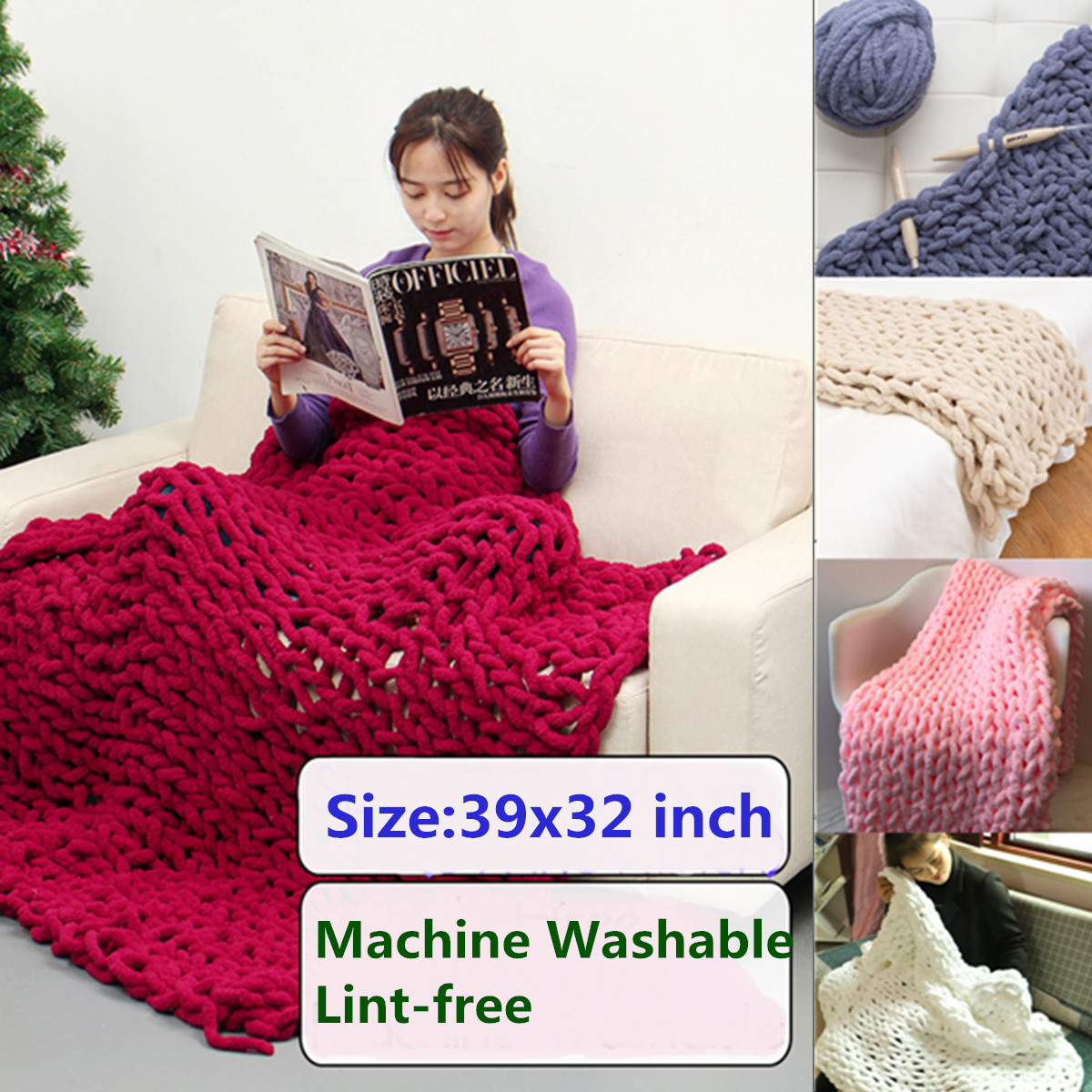 39x32 inch Washable Hand-woven Bulky Warm Soft Chunky Knit Bedding Blanket Lint-free Thick Yarn Knitted Sofa Throw Rug