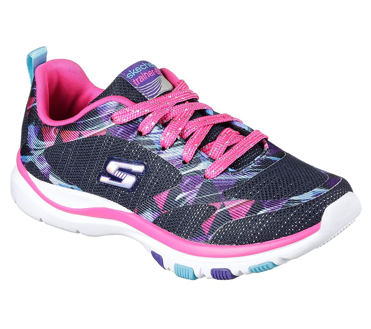 Skechers Girl's Trainer Lite, Training, Navy/Hot Pink, 1.5 Little Kid M