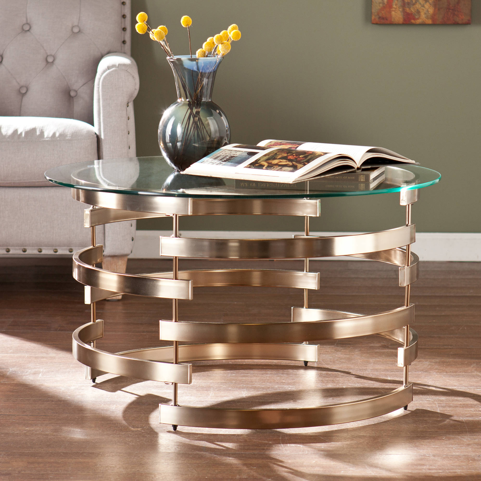 Southern Enterprises Sofie Coffee Table, Glass and Champagne