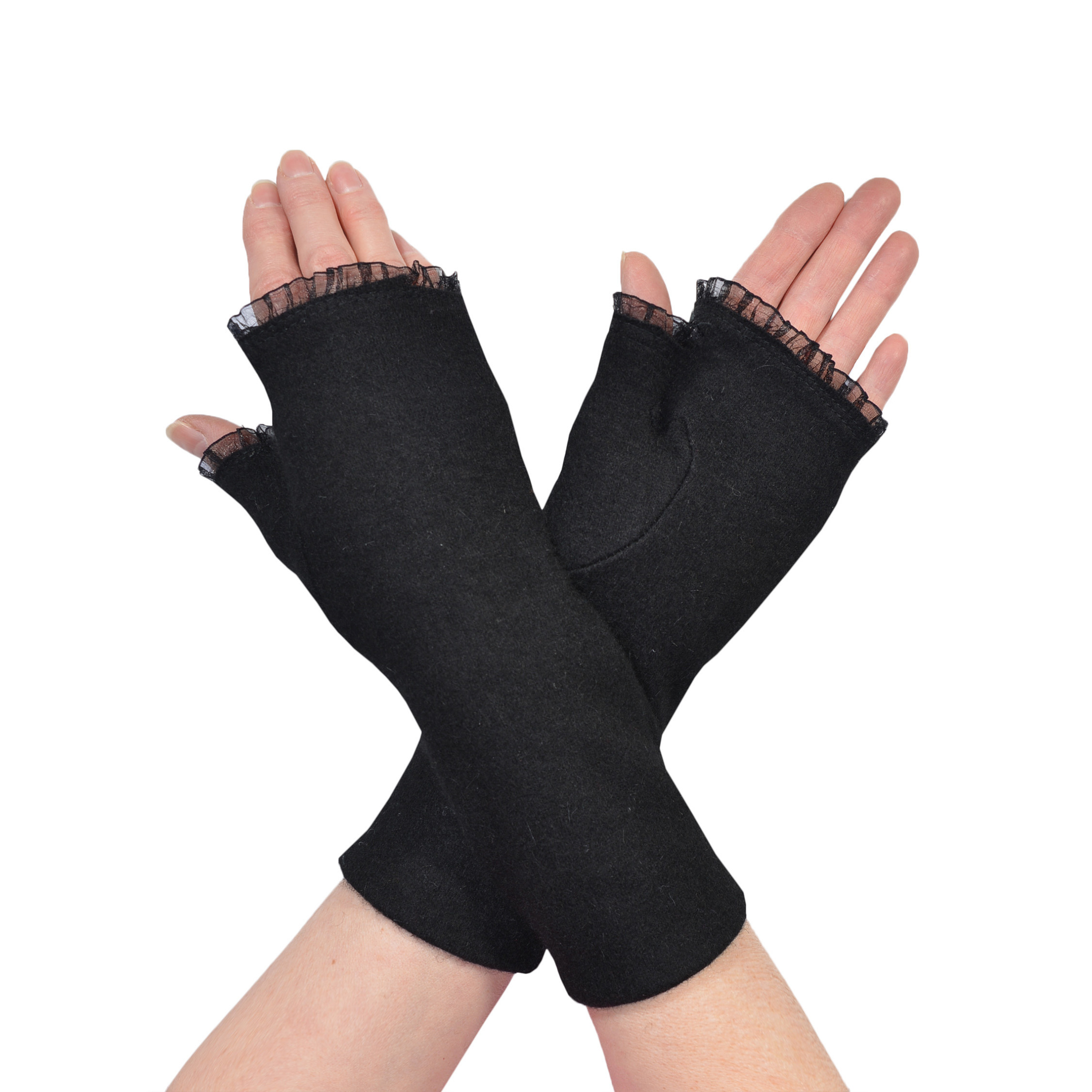 Womens Black Fingerless Gloves Chiffon Ruffle Trim Winter Fashion Wool Gloves