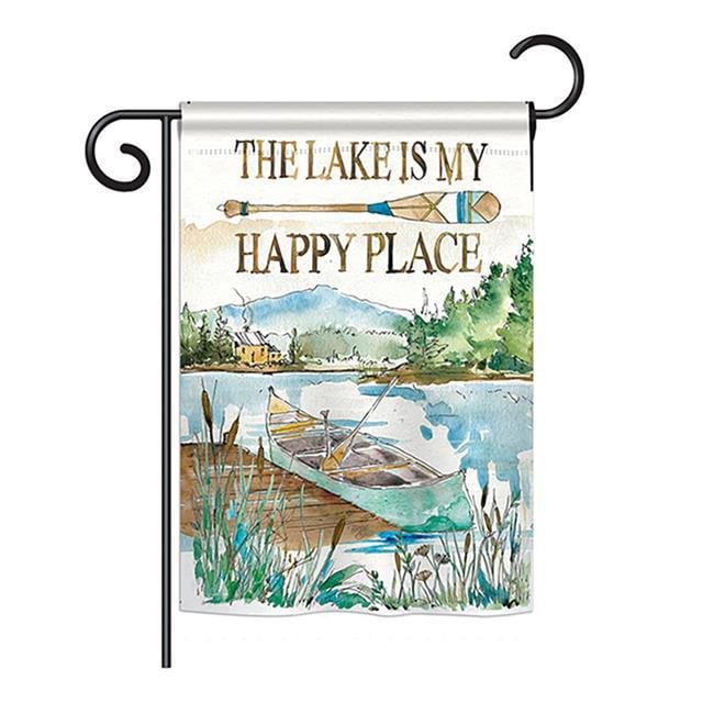 12.5 x 18 Garden flag Adirondack Day MY HAPPY PLACE Decorative everyday  Linen
