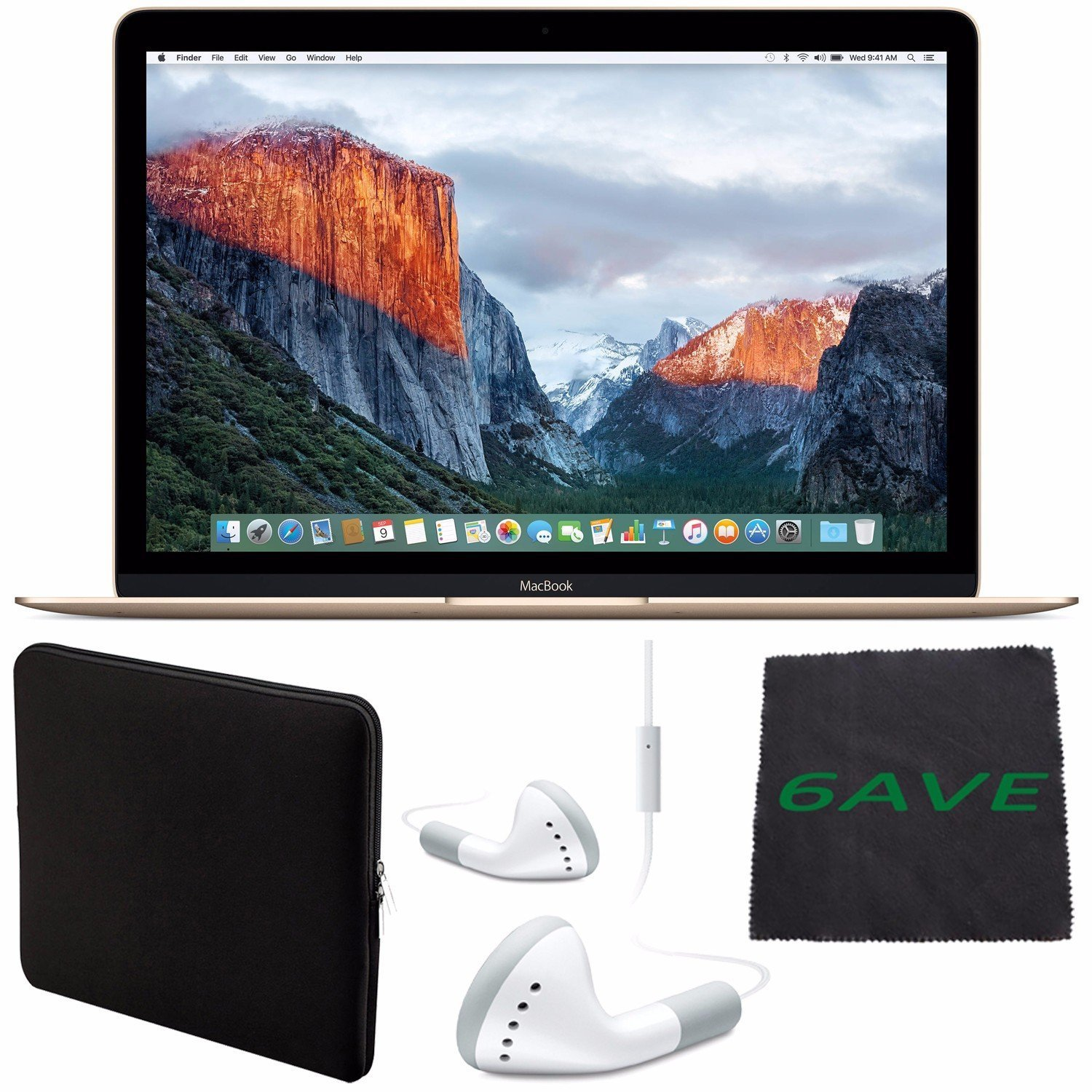 """6Ave Apple 12"""" MacBook 512GB (Early 2016 Gold) #MLHF2LL/A + White Wired Earbuds Headphones + Padded Case For Macbook + Fibercloth Bundle"""