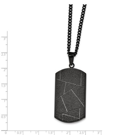 Stainless Steel Polished Black IP-plated Diamond-cut Dog Tag Necklace 24in - image 1 de 3