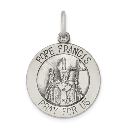 925 Sterling Silver Antiqued and Brushed Pope Francis Medal Pendant Fine Jewelry Ideal Gifts For Women Gift Set From Heart