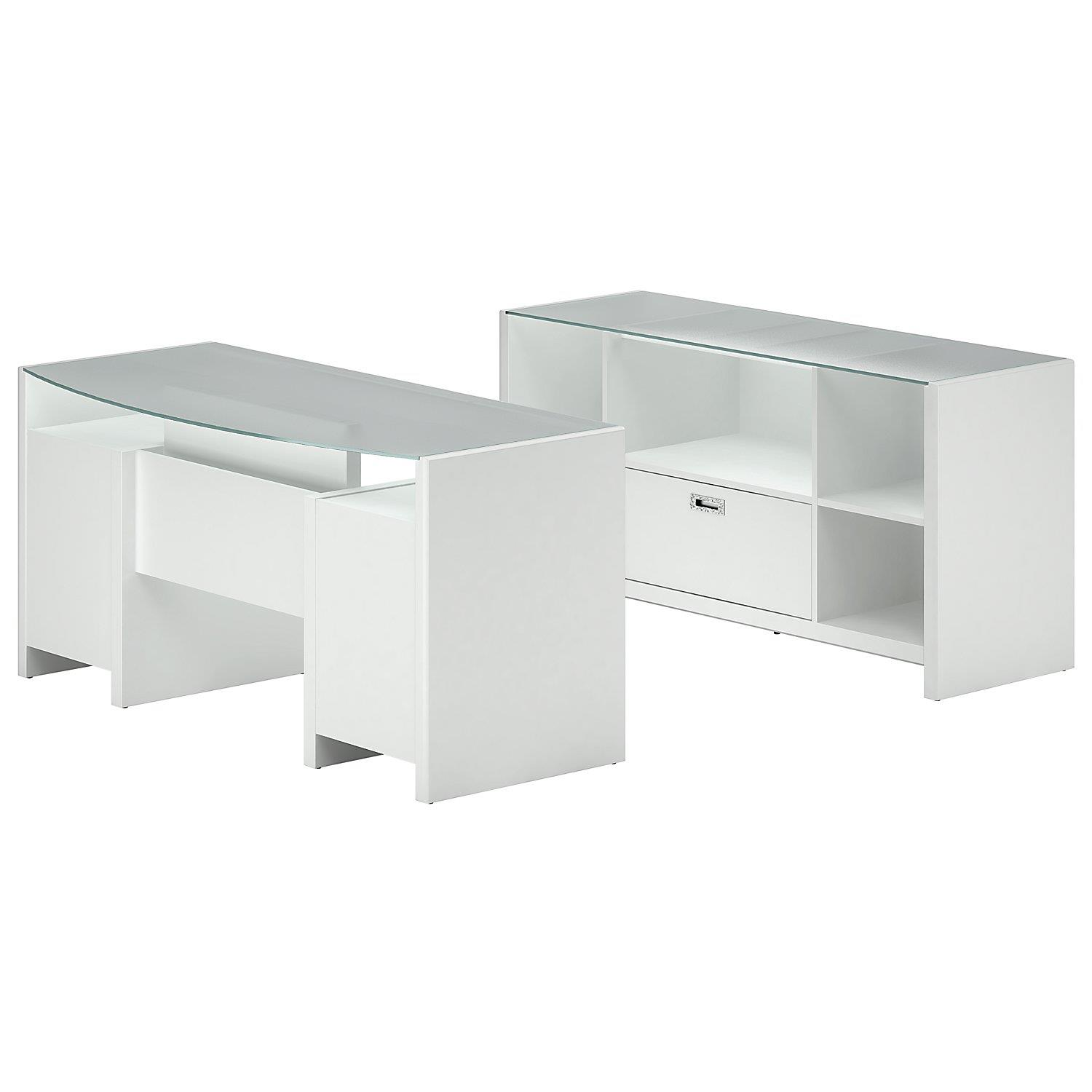 Kathy Ireland® Office Home Office Bow Front Desk & Storage Crendenza ...