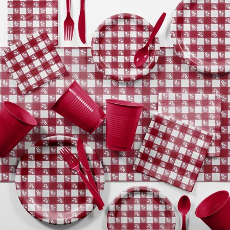 Picnic Supplies (Bulk Red Gingham Picnic Supplies)