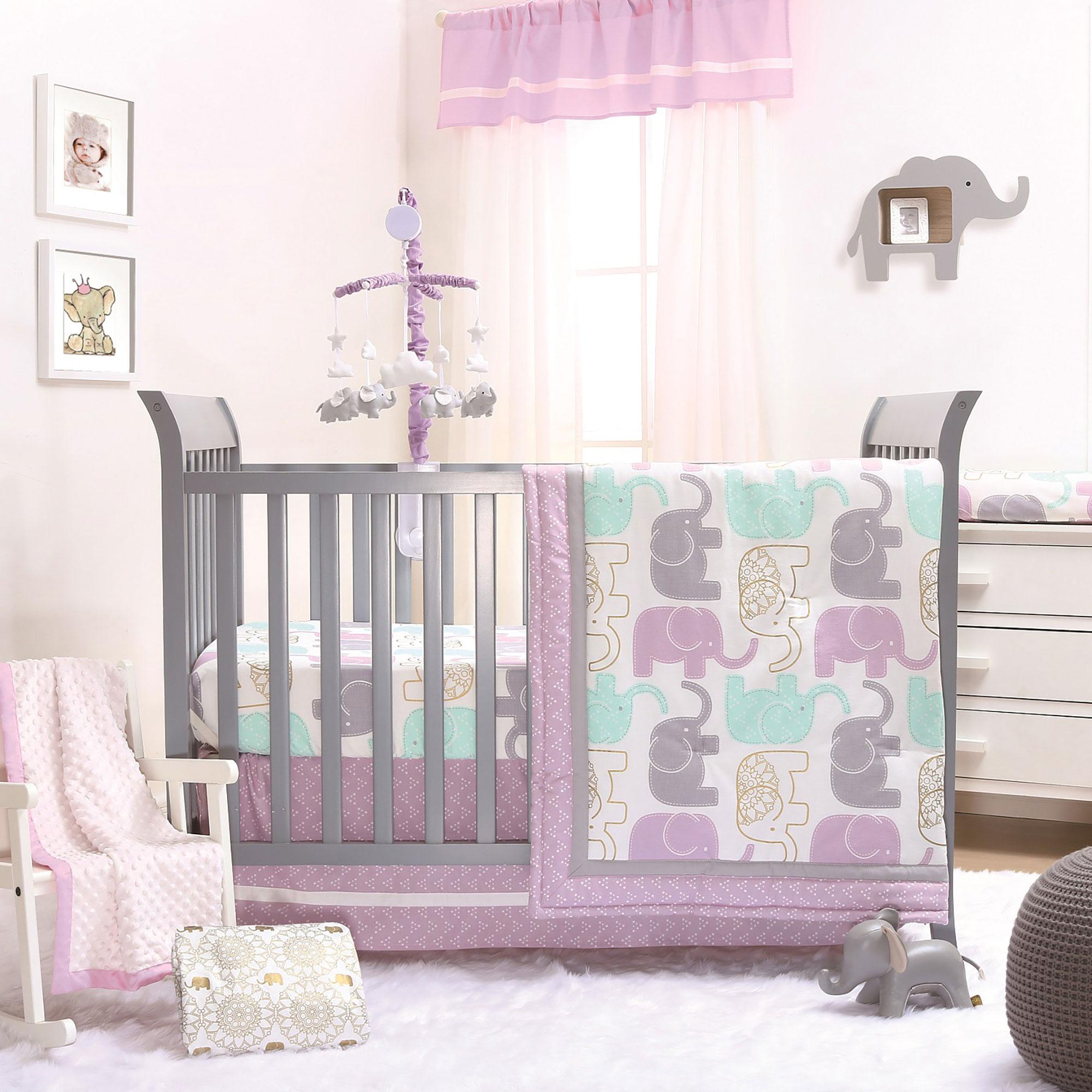 Little Peanut Lilac/Gold Elephant Baby Girl Crib Bedding - 11 Piece Sleep Essentials Set