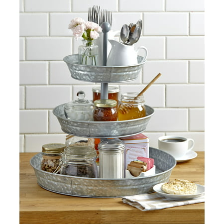 3-Tier Rustic Serving Tray - Galvanized Metal Kitchen Stand with Farmhouse Style ()